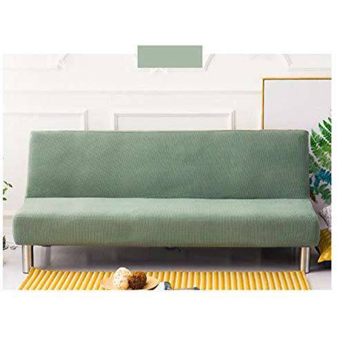 KongEU Clic Clac funda de sofá sin brazos de 3 plazas, color sólido, funda de cojín elástica para sofá cama sin apoyabrazos, tela elástica plegable sofá protector-verde claro