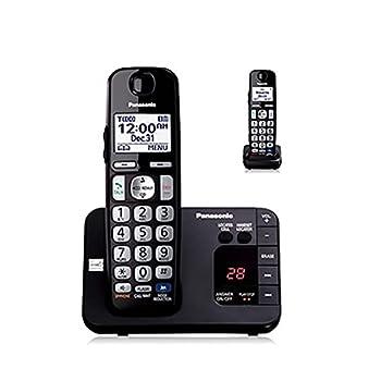 Panasonic KX-TGE232B DECT 6.0 Expandable Digital Cordless Answering System 2 Handsets Black  Renewed