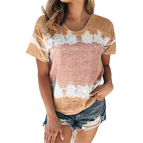 DREAMING-Camiseta de algodón con Cuello Redondo y Manga Corta teñida con Lazo Superior para Mujer XXL
