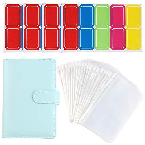 Libreta de cuero A6, bolsas de plástico con 6 anillas, cubierta de piel + 20 bolsas impermeables con cremallera + 40 pegatinas de etiquetas de plástico para suministros escolares de oficina (azul)