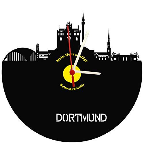 Wanduhr Dortmund Skyline schwarz-gelb hochwertige Acrylglas Uhr mit lautlosem Quarzwerk, 3mm Stärke