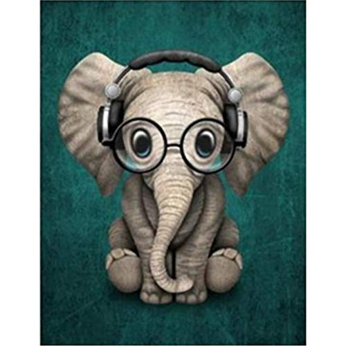 MXJSUA DIY 5D Diamond Painting Full Square Drill Kits Picture Art Craft Home Wall Decor 12x16In Lovely Elephant
