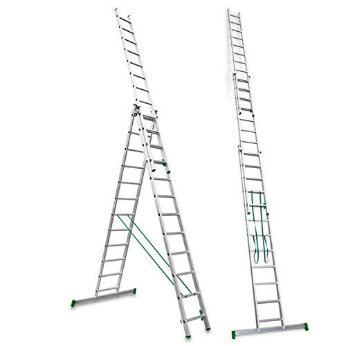 Escalibur | ES.TRIPLE | Escalera de Aluminio | Escalera 12 Peldaños | 344x100x15 cm |Amplia base estabilizadora| Peldaños antideslizantes |Máxima seguridad| Fácil Transporte