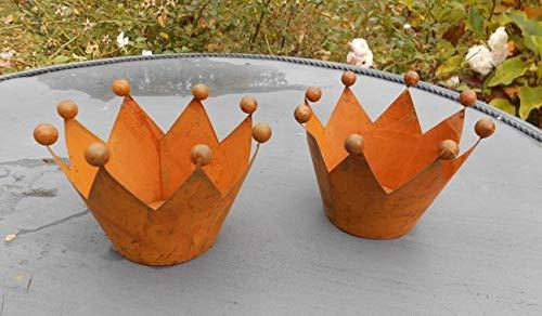 Deko-Impression Kronen m. Kugelspitzen 2er-Set Windlichter Teelichthalter Eisen Rost