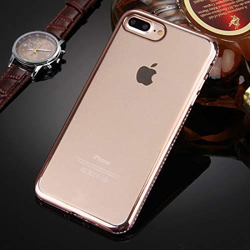 Wakaha Caja del teléfono for el iPhone Plus 8 y 7 Plus galvanoplastia con Incrustaciones de Diamantes Transparente TPU Caso de la Cubierta Protectora st (Color : Rose Gold)