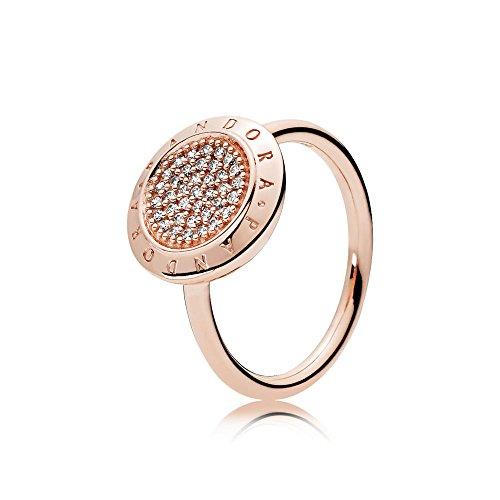 Pandora, 180912CZ-54, solitaire ring voor dames, zilver_verguld met '- ringmaat 54 (17.2)