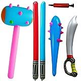 BESLIME Inflatable Props Set - Inflatable Sticks Pirate Sword Stick Star Wars Lightsaber Sword Stick Caveman Club Children's Toy Primal Human Cosplay (Random Color)