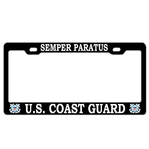 Hopes's Personalized License Plate Frame Aluminum Metal 2 Holes and Screws - US Coast Guard Semper Paratus Black
