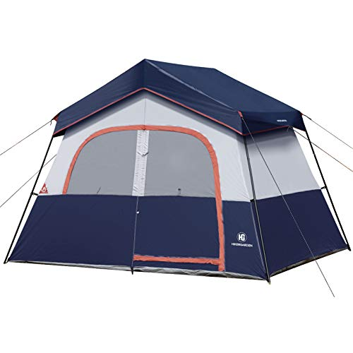 HIKERGARDEN Camping Tent - 6 10 Person Tent for Camping Waterproof, Windproof Fabric, Easy Setup with Large Mesh for Ventilation, Double Layer and Divided Curtain (6 Person(Blue))