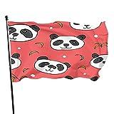 QQIAEJIA Niedliche Pandabären-Flagge 3x5 Fuß im FreienKleines cooles Banner mit Stange, doppelt genähte Kanten