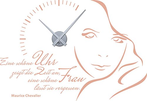GRAZDesign Moderne Wanduhren Eine schöne Uhr zeigt die Zeit an - Wandtattoo Uhr mit Spruch Wohnzimmer Gesicht Frau - Wanduhr groß Aufkleber Schlafzimmer Motiv / 82x57cm / 800332_SI_958