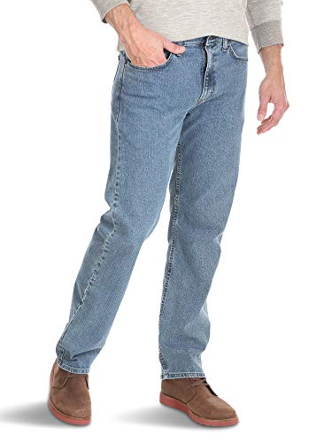 Wrangler Authentics Men's Relaxed Fit Comfort Flex Jean, Light Stonewash, 36W x 32L