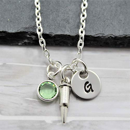 Bullet Necklace for Women - Personalized Birthstone & Initial - Bullet Jewelry For Women