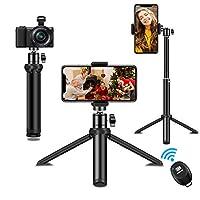 2021 NEUER STIL: 2021 Update Qualitäts-Telefonstativ, neue Design-Telefonclips,(6~8,5 cm)Zwei-in-Eins-Design aus stabilem Stativ und ausziehbarem Selfie-Stick. Sie können die Stange unter dem Stativ nach oben montieren, um ein Selfie zu werden Stock....