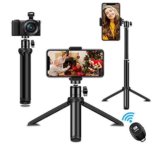 SYOSIN Tripode Movil, Extendable Palo Selfie, Mini Tripode Portátil con Obturador Remoto Bluetooth Compatible con iPhone SE / 11 Pro MAX/XS/XR, Samsung Galaxy, Xiaomi Cámara, GoPro