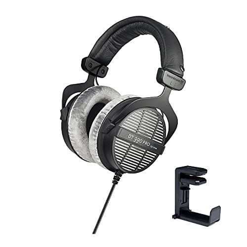 beyerdynamic DT-990 Pro Acoustically Open Headphones (250 Ohms) with Knox Gear Headphone Hanger Mount with Built-in Cable Organizer Bundle (2 Items)