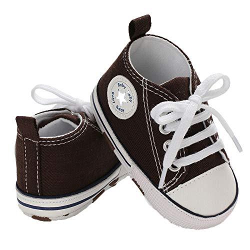 WangsCanis Babyschuhe Baby Junge Mädchen Schuhe Sneakers Weiche Leinwand mit Weichen und Rutschfesten Sohle Für 0-6 6-12 12-18 Monat (Braun, 3_Months)