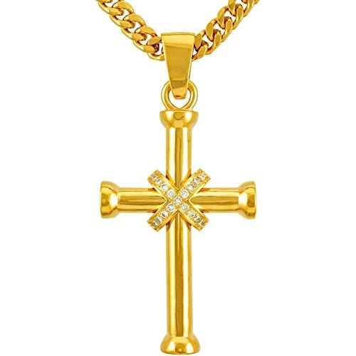 Lifetime Jewelry Large CZ Cross Necklaces for Men & Women 24k Real Gold Plated (Saint John Cross)