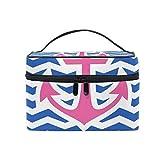 Alarge Make-up-Tasche mit nautischem Anker, Chevron, große Kosmetiktasche, Reisetasche, Kulturbeutel, Organizer für Frauen und Mädchen
