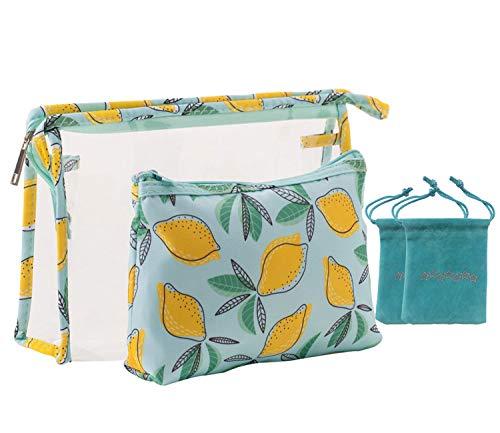 Cosmetic Bags,Makeup Bags Toiletry Portable makeup purse Travel Pouch Purse Pencil Case Makeup Bag 2PCS (Lemon)