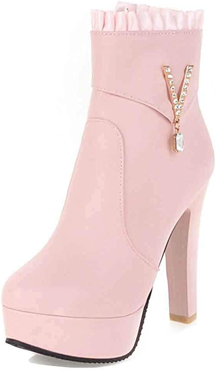 Unm Women's Rhinestone Platform Booties with Zipper - Chunky High Heel Dressy - Ruched Round Toe Ankle Boots