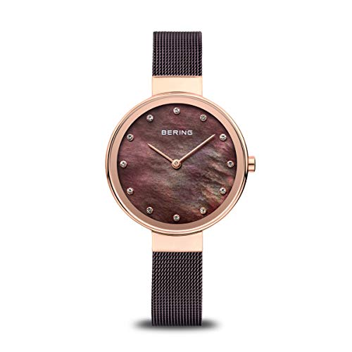 BERING Reloj Analógico Classic Collection para Mujer de Cuarzo con Correa en Acero Inoxidable y Cristal de Zafiro 12034-265
