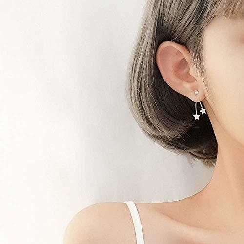 Collar de Moda Simple Pendientes de Estrella de Zircon de Plata de Ley 925 con Dos Pendientes...