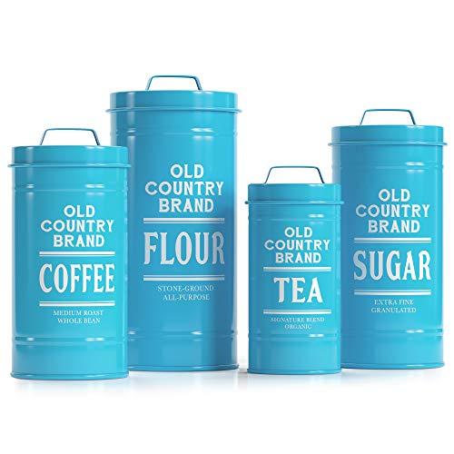 Barnyard Designs Dekorative Aufbewahrungsdosen mit Deckel, Weiß verzinktes Metall, rustikal, Landhausdekor, für Mehl, Zucker, Kaffee, Tee, 4 Stück, 14 x 28 cm blaugrün