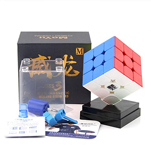 OJIN MoYu WEILONG GTS3M 3X3 Magic Puzzle Cube WEILONG GTS V3 Twist Puzzle Cube con One Cube Bag y One Cube Tripod (Sin Etiquetas)
