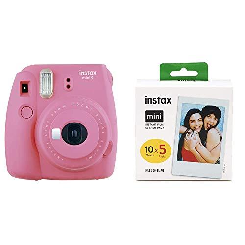 Fujifilm Instax Mini 9 Flamingo Fotocamera Istantanea, 62 x 46 mm, Rosa & Instax Mini Film Pellicola Istantanea per Fotocamere Instax Mini, Formato 46 x 62 mm, Confezione da 50 Foto
