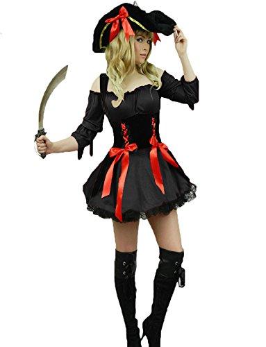 Yummy Bee - Pirate des Caraibes Tenue Costume Deluxe Déguisement Femme Adultes Capitaine + Chapeau + Sabre D'Abordage - Grande Taille 34-50 (44/46, Noir)