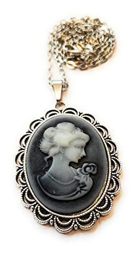 Münchner Glitzerwelt handmade Kette + Anhänger Kamee Gemme Cameo Grau antiksilberfarben handgefertigt Necklace