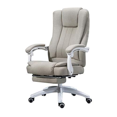 Silla de oficina de lino con respaldo alto, silla giratoria de escritorio para computadora de supervisor con ángulo de inclinación ajustable, cojín grueso y diseño cómodo y ergonómico, soporte de ci