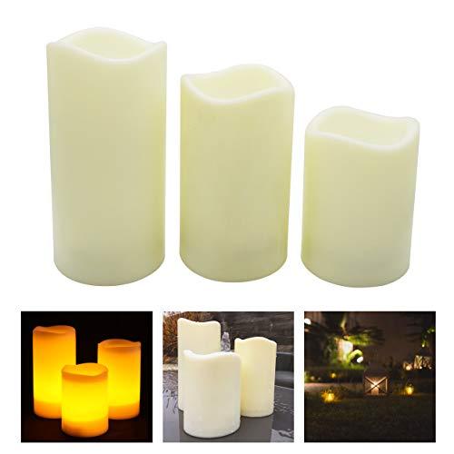 Mooncandles Timer – 3 flammenlose LED-Kerzen für den Außenbereich mit 6-Stunden-Timer