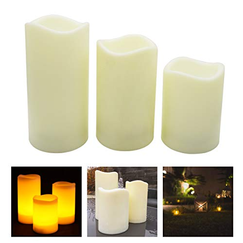 Mooncandles Timer - 3 Outdoor Flameless LED Candles with 6 Hour Timer