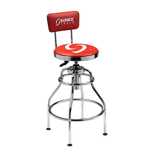 Sunex 8516 Hydraulic Shop Stool, High-Polished Chrome Finish, Hydraulic Seat Adjustment, Vinyl Padded Adjustable Seat and Backrest, Slip Resistant Feet, 250-Pound Capacity