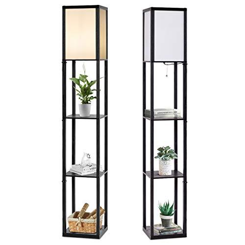 RELAX4LIFE Stehlampe mit 3 Regalen, Standlampe vertikal, Standleuchte für Lampe bis 60W, Stehlleuchte für E27 Fassung, Nachttischlampe für Wohnzimmer & Schlafzimmer & Büro, 26 x 26 x 160cm, schwarz