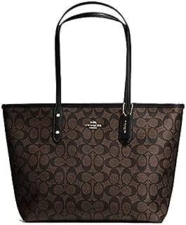 COACH F58292 Signature City Zip Top Tote Brown/Black Handbag Purse