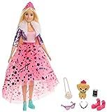 Barbie Princesse Adventure poupée blonde avec jupe rose en tulle, figurine chiot et accessoires inclus, jouet pour enfant, GML76