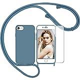 Nupcknn Funda Silicona Líquida con Cuerda para iPhone 7/8/iPhone SE 2020 y Protector Pantalla, Carcasa Suave Silicona Case con Correa Colgante Ajustable Collar Correa de Cuello Cadena Cordón(Azul)