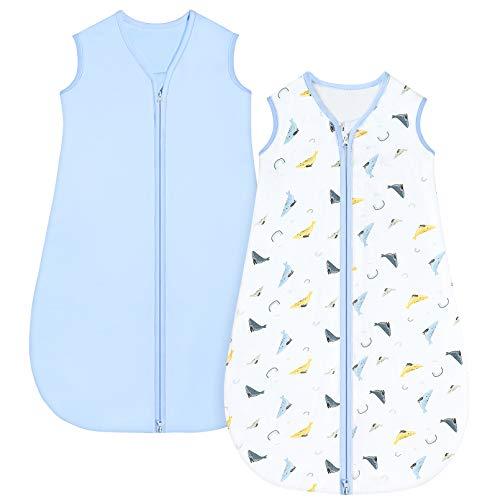 Yoofoss Paquete de 2 Saco de Dormir para Unisex Bebe Recién Nacidos Niño Niña 0-36 Meses Verano Ajustable Niño Niña 100% Algodón (18-36 Meses)