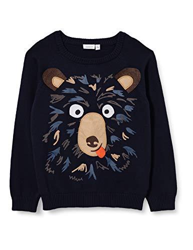 NAME IT Jungen NMMOLTAMME LS Knit Pullover, dunkelblau/Print, 98
