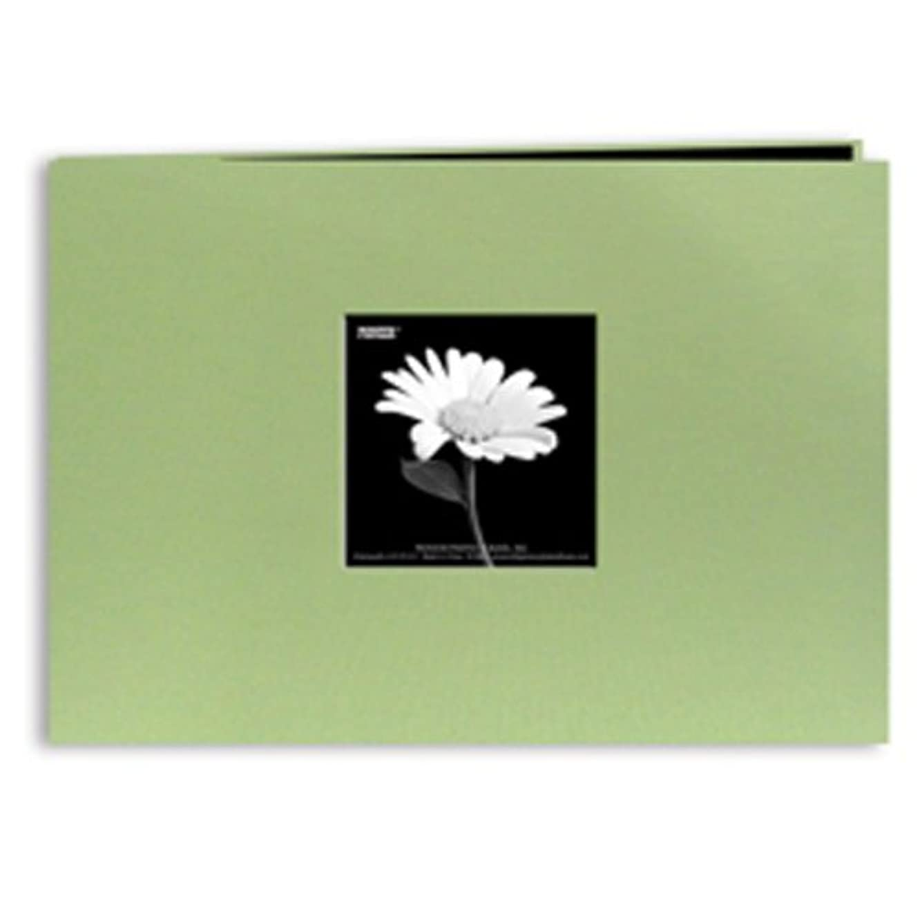 Pioneer 5 Inch by 7 Inch Postbound Fabric Frame Front Memory Book, Sage Green