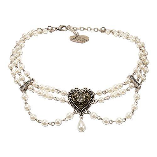 Alpenflüstern Trachten-Perlen-Kropfkette Trachtenherz - Elegante Trachtenkette mit Trachtenherz - nostalgischer Damen-Trachtenschmuck, Dirndlkette Creme-weiß DHK230