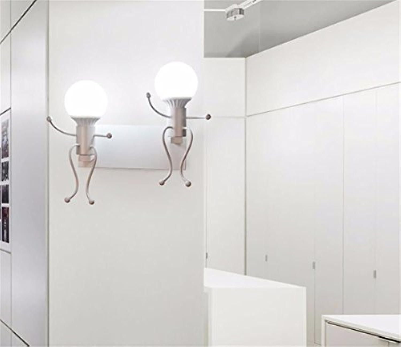 Pouluuo Amerikanischer schmiedeeiserne Wandlampe Retro-Schlafzimmer Nachttischlampe Shop Gang einfache kreative Persnlichkeit Wandleuchte wei Doppelkopf