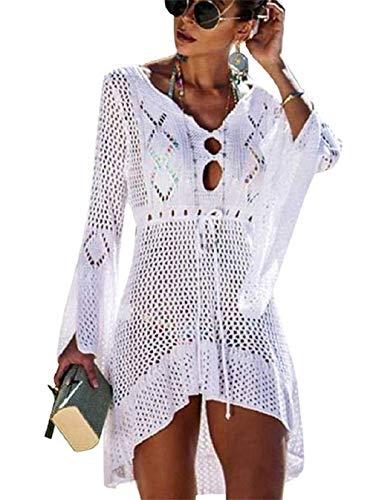 Copricostume da Bagno Donna in Maglia Uncinetto Estate Abito da Spiaggia Bikini Cover Up Camicetta Maglia Tunica Kaftan Top (One Size, A - Bianca)