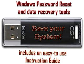 Password Reset and Data Recovery Tools for Windows - on 8GB USB Drive - Works with Windows 8, 7, Vista, XP, etc.