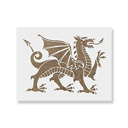 Medieval Dragon Stencil - Reusable Stencils for Painting - Mylar Stencil for Crafts and Decorations