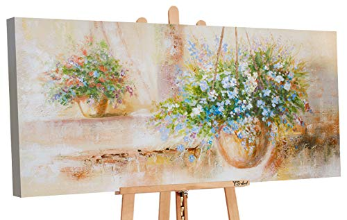 YS-Art | Cuadro Pintado a Mano Provence II | Cuadro Moderno acrilico | 120x60 cm | Lienzo Pintado a Mano | Cuadros Dormitories | unico | De Color Beige