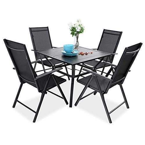 PHI VILLA 5 pcs Patio Dining Set, 4 Outdoor Reclining Folding Sling Chair with Armrest & 1 Square Patio Dining Table with 1.57' Umbrella Hole